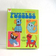 4 Vintage Animal Puzzles in Box 1960s Whitman Toys