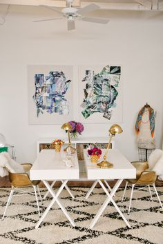 Glam office // gold accents // all white