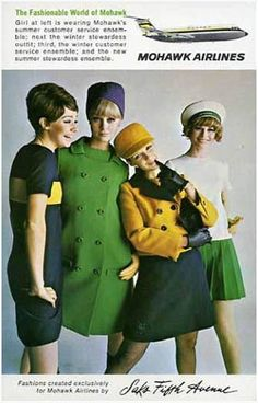 Wonderful Colors! Mohawk Airlines stewardess uniforms by Saks Fifth Avenue, 1960s.