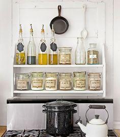 #InspireCaribou kitchens, stove, bottl, kitchen storage, canning jars, decorating ideas, glass containers, shelv, kitchen designs