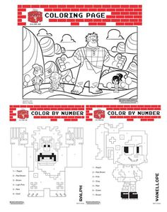 Wreck It Ralph free printable color by number