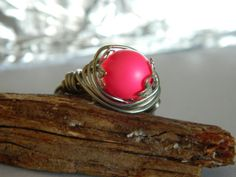 Wire Wrap Ring Hot Pink Swarovski Glass Pearl and by uniquenique, $22.00 #handmade #onfireteam #teamfest #lacwe #accessories #ring #pearl #jewelry