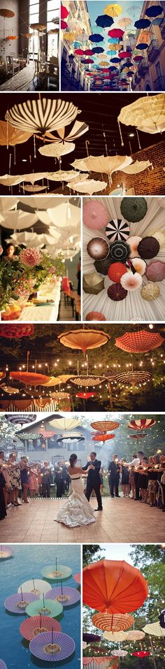 I love all the different ways the umbrellas have been used to decorate the areas! Umbrellas Wedding, Parti Decor, Inspir, Neat Idear, Umbrella Wedding Decor, Umbrella Art, Unique Weddings, Destination Weddings, Bridal Showers