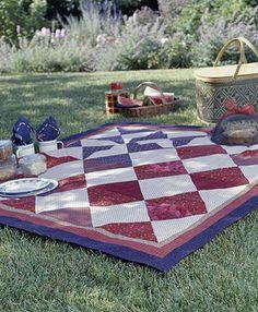 flag, red white blue, picnics, picnic clothquilt, quiltingsew idea, picnic quilt, blue quilts, patriotic quilts, celebr picnic