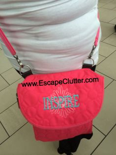 """Vary You Backpack purse in coral. Blossom icon-it in white and """"Inspire"""" in turquoise style 19 :: Thirty-One :: personalization :: embroidery"""
