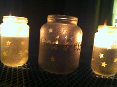 Homemade Mosquito Candles! 1. Strip, wash and dry old glass jars.  2. Stick on stickers to make words/designs of your choice.  3. Coat in spray paint.  4. Peel off the stickers.  5. Fill about 1/2 way with vegetable oil and add citronella essential oil (got mine from a local health food store).  6. Add a hurricane lamp wick (let it soak on the oil before using).  7. Enjoy!