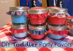 Cheap & easy DIY toddler party favor idea! Make Gak (aka flubber) from Elmer's glue and Borax. Place it in the mini 4 oz. mason jars. A great alternative to candy!