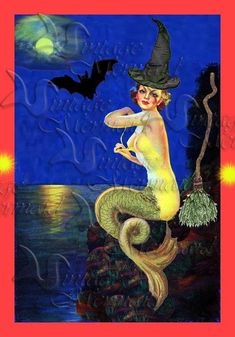 MERMAID FABRIC PHM1 HALLOWEEN MERMAID Quilt Fabric Block by wwwvintagemermaidcom, $7.00