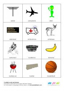 214 multisyllabic words and phrases. Repinned by Columbus Speech & Hearing Center. For more ideas like this visit www.pinterest.com/ColumbusSpeech