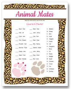 Animal Mates - Valentine's Day couples party game, match the animal to it's mate. Printable game.