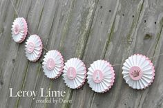 Personalized French Vintage Themed Rosette Name Party by LeroyLime, $20.00 #princess #babyshower #banner