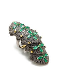 Blake Scott Emerald & Black Diamond Flexible Shield Ring