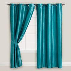 Aegean Blue Dupioni Grommet Curtain