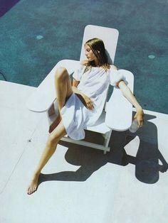 bridget hall, mario testino, shades, november, fashion, pool, white, the road, outdoor lounge