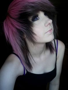 pink and black scene hair