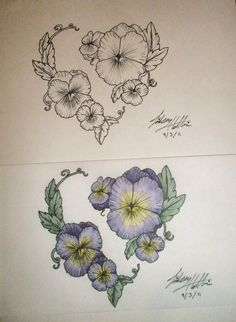 This the inspiration for my tattoo idea.  Not exactly like this, but this is what got me started.    Pansy Heart Design by ~LinsCatMeow on deviantART