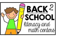 Back to School Literacy and Math Centers {freebies too}