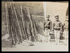 Chinese weapons captured by Japanese troops from within Shui-tzu-yin Fort; a variety of arms including the two man Gingal, which were large and cumbersome but highly accurate as well as powerfully deadly.