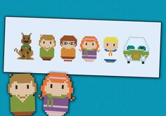 Could totally do this with perler beads! Scooby Doo chibi  PDF  cross stitch pattern door cloudsfactory, $5.00
