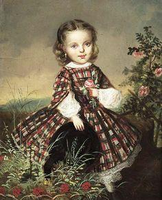 girl in Scottish tartan