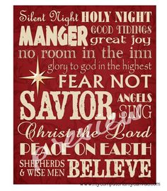 Christmas Manger Nativity Subway Art - Printable INSTANT DOWNLOAD