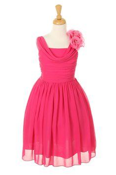 fuschia chiffon girls dress