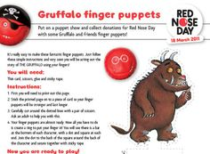 Gruffalo Finger Puppets: Download these templates and instructions on how to make your very own Gruffalo finger puppets - and then put on a show.