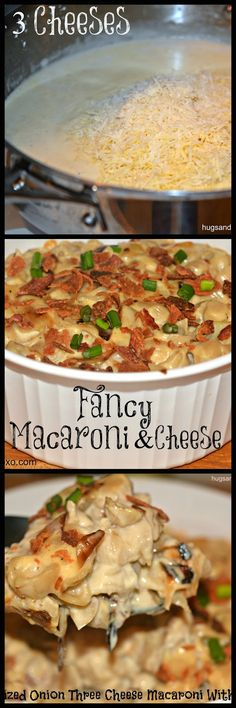 GLUTEN FREE FANCY 3 CHEESE MACARONI WITH CARAMELIZED ONIONS  BACON!!!