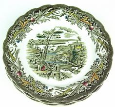 """Heritage pattern by Ridgway Pottery - Bread plate - 6 3/4"""" - The Rideau Canal Bytown. Bytown is now Ottawa Ontario Canada."""