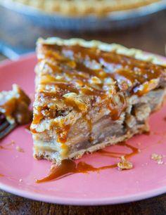 Caramel Apple Crumble Pie Recipe...part apple crumble, part apple pie, & dripping with caramel sauce! Foolproof recipe at averiecooks.com.