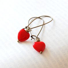 Red Heart Earrings Czech Glass