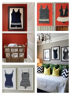 vintage swimsuits, beach retreat, bow ties, beach decor, fun decor, bathroom themes, vintage bathing suits