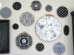 Embroidery hoops and fabric - great, cheap art for those on a tight budget