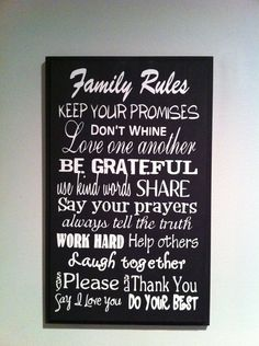 Family Rules Sign, Home Deocr, Wall Sign, Size 11x18. $32.00, via Etsy. Rules Signs, Crafts Ideas, Wall Signs, Decor Ideas, House Ideas, Inspiration Ideas, Family Rules Home Decor, Family Rules Sign, Families Rules