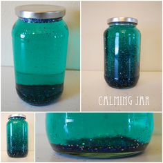 Calming Jar-tell your child that they need a break and may come back when everything has settled to the bottom. If you want to make your own calming jar (good for moms as well) they are really easy! All you need to do is: jar or bottle with a lid 1 tbsp of clear glue (or glitter glue) to each 1 cup of (hot) water to fill the jar add in glitter (about 1 inch of glitter) food coloring (optional)