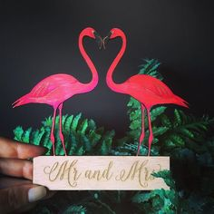 Flamingo cake topper for a tropical themed wedding. Be a flamingo in a world…