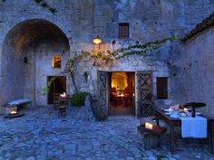 """Sextantio Albergo Diffuso Le Grotte Della Civita at Sassi de Matera, Basilicata, Italy.The """"Stones of Matera"""" are ancient cave dwellings, originating from a prehistoric (troglodyte) settlement, and are suspected to be some of the first human settlements in Italy."""
