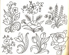 assorted floral embroidery patterns
