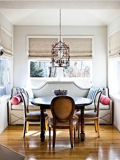 love the built in sofa for dining room seating!