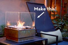 Diy tableside firepit - a couple of these on a deck would be amazing! - total cost to make around 20-25 dollars!  I am totally making this!!