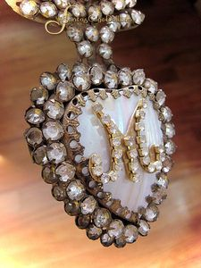 French Jeweled Mother Of Pearl Flaming Heart-ex-voto