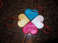 Salt Dough ornaments. Not just for Christmas anymore! What a cute idea for school valentines!