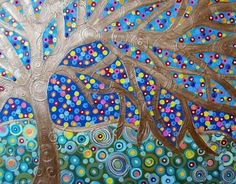 colorful acrylic tree painting