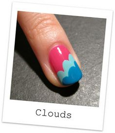 cute colorful cloud nails