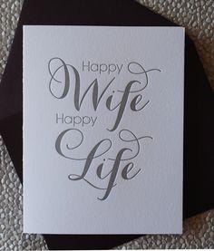 Happy Wife, Happy Life - wedding, love, anniversary card. $5.25, via Etsy.