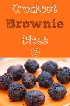Crockpot Brownie Bites--come home to warm chocolatey goodness!