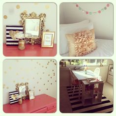 Craft Room...gold, coral, and mint