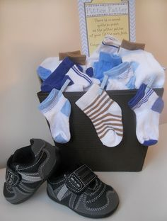 Baby shower basket with socks and shoes - link includes printables for boy & girl