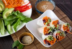 Salad Rolls with Vegetables and Almond-Lime Sauce