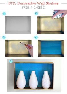 DIY wall shelves from shoeboxes